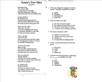 Christmas/Holiday Poetry with Multiple Choice Questions