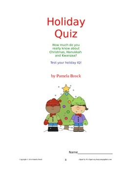 Christmas/Holiday Trivia Quiz