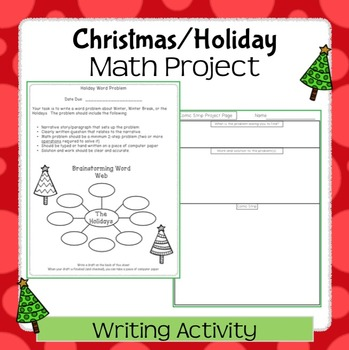 Christmas/Holiday Word Problem Writing Project For Middle