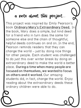 Holiday Gift Writing/Reading Lesson: Ordinary Mary's Extraordinary Deed