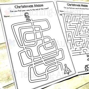 Christmas Activities: Maze Worksheets
