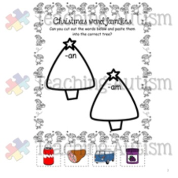 Christmas Word Families Worksheets