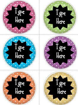 Editable Labels - Polka Dots Round