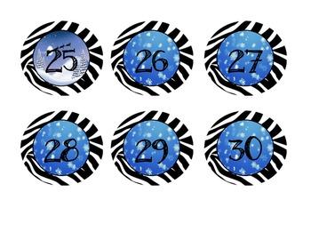 Christmas/Snowflake Zebra Jungle Number Line and Calendar 1-100