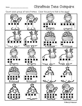 Christmas Tens Frame Comparisons - Number Sense - Greatest / Least Practice