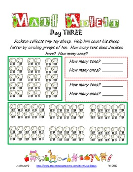 Christmas/Winter Advent Math Review for Daily Review (Grade 1-3)