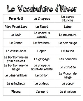 Christmas/Winter Vocabulary for French Classes