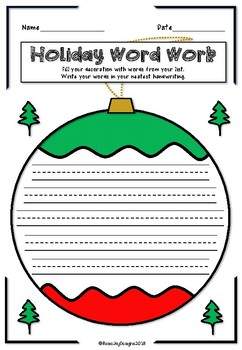Christmas Word Work Printables For Any List