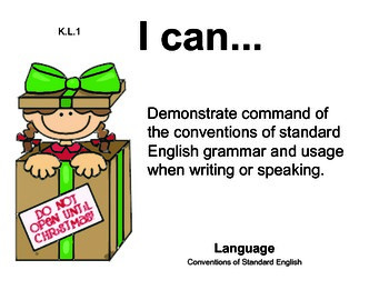 ChristmasWrappers Kindergarten English Common core standards posters