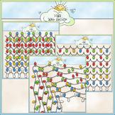 Christmas Lights Frames & Borders Clip Art - CU Clip Art & B&W