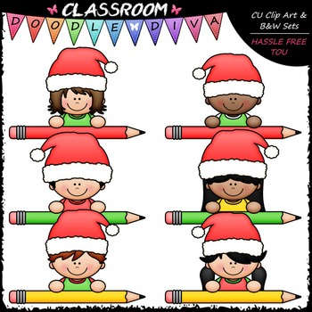 Santa Pencil Peeker Kids Clip Art - Topper Clip Art & B&W Set