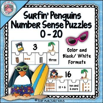 Numbers Sense 0-20 Surfin' Penguins Puzzles