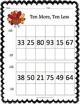 Thanksgiving Math Worksheet Pack
