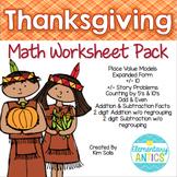 Thanksgiving Math Worksheet Pack