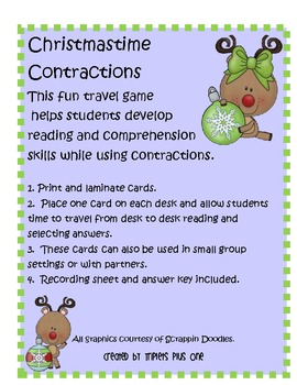 Christmastime Contractions Travel Game