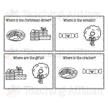 Christms Task Cards, Where is it? Recognition, Autism.