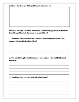 Christoph Kolumbus:  Berühme Persönlichkeiten - Famous Person Worksheet