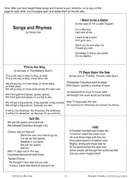 Christopher Columbus Art Projects, Songs, & Rhymes