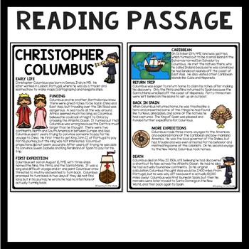 Christopher Columbus Article and Questions, Explorers, Columbus Day