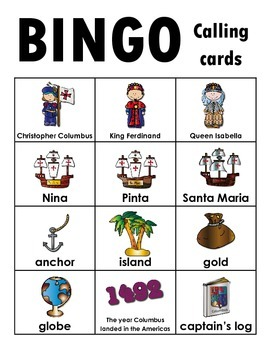 Christopher Columbus BINGO + 12 bonus pages of vocabulary words