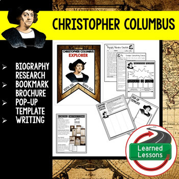 Christopher Columbus Biography Research, Bookmark Brochure, Pop-Up, Writing