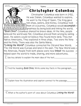 Christopher Columbus CloseRead 5 LevelPassages ALL-ON-ONE SHEETInformationalText