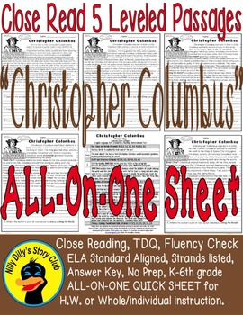 Christopher Columbus CloseRead 5 LevelPassages ALL-ON-ONE