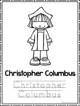 Christopher Columbus Coloring Book worksheets.  Preschool-2nd Grade