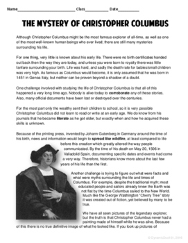 Christopher Columbus ELA Test Prep Passage