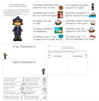 Christopher Columbus Easy Reader with True and False Statements