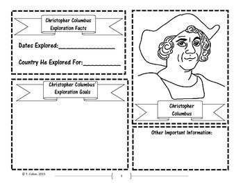 Christopher Columbus' Explorations Interactive Notebook Components