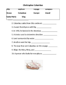 Christopher Columbus: Fill in the blank