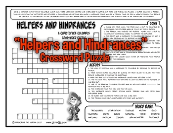 Christopher Columbus: Helpers and Hindrances Crossword Puzzle