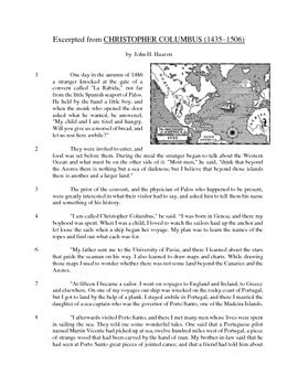 Christopher Columbus - Informational Text Test Prep