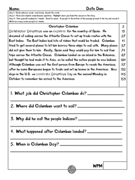 Christopher Columbus Leveled Fluency and Comprehension Passage