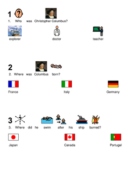 Christopher Columbus - Life Day picture supported text lesson questions PDF
