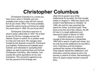 Christopher Columbus-Upper Grades
