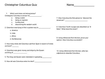Christopher Columbus-Upper Grades