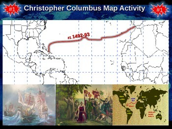 Christopher Columbus Mapping Activity: engaging 33-slide PPT and map handout