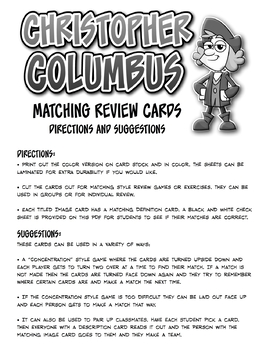 Christopher Columbus Matching Game Review Cards