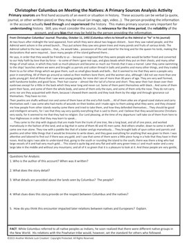 Christopher Columbus Meeting Natives American Document Analysis Activity