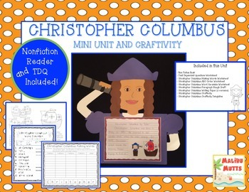 Christopher Columbus Unit with Nonfiction Book and Craftiv