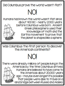 Christopher Columbus Myths vs. Facts Columbus Day Activities - Grades 2-5