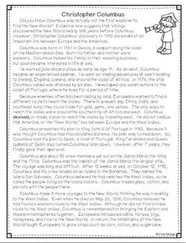 Christopher Columbus Nonfiction Passage