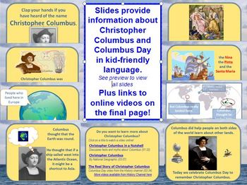 Christopher Columbus PowerPoint Lesson for Columbus Day K-3 w/worksheets
