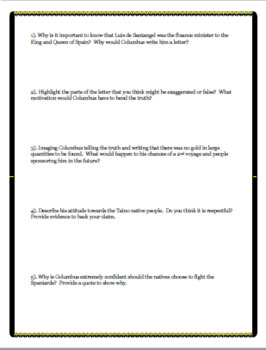 Christopher Columbus Primary Source Close Reading for Middle & High School