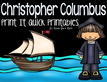 Christopher Columbus Printables {Literacy and Math}