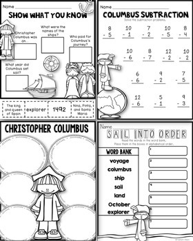 Christopher Columbus Printables for First Grade - Math and Literacy