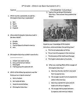 Christopher Columbus Quiz GSE 3rd grade