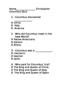 Christopher Columbus Quiz/Kindergarten/First grade